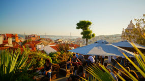 Rooftop bar Park in Lisbon Portugal. Rooftop bar on top of a parking garage in Lisbon Stock Image