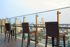 Rooftop bar and restaurant of building cityscape Stock Photos