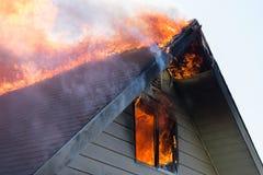 Rooftop blaze Stock Photos