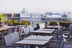 Rooftop cafe in Europe Royalty Free Stock Photos
