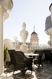 Rooftop cafe Gran Via cathedral view Madrid Spain Royalty Free Stock Photo