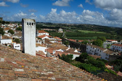 Rooftop within castle walls, Obidos, Portugal Royalty Free Stock Image