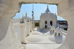 Rooftop of the Cathedral of Leon, an UNESCO Heritage Centre in Nicaragua. Basílica Catedral de la Asunción de León, most known as Cathedral of Leon, is royalty free stock images
