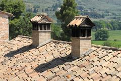 Rooftop chimneys Stock Images