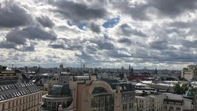 Rooftop city-view of Moscow from the view point on top of Detskiy Mir trading center. Rooftop view on Moscow Kremlin and many Orthodox churches and cathedrals stock video footage