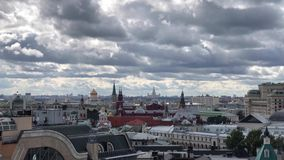 Rooftop city-view of Moscow from the view point on top of Detskiy Mir trading center. Rooftop view on Moscow Kremlin and many Orthodox churches and cathedrals stock footage