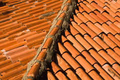 Rooftop Closeup. Abstract pattern of orange rooftop tiles Stock Photography