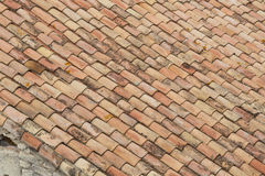 Rooftop Closeup of Weathered Old Clay Tiles Stock Photo