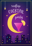 Rooftop Cocktail  Party Invitation Cards with Lights, Moon and Glass Royalty Free Stock Photo