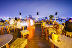 Rooftop Cocktails in Saigon, Vietnam. Very high resolution, 42.2 megapixels. Overwhelmed with most beautiful Pool Bar in Ho Chi Minh City formerly named Saigon royalty free stock images