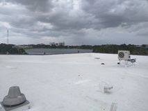 Rooftop a commercial flat roof, EPDM Roofing stock images