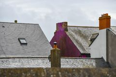Rooftop in Cork Ireland. Colorful moss cottage in Cork Ireland Royalty Free Stock Photos