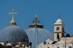 Rooftop crosses of the Church of the Holy Sepulchre in Jerusalem, Israel stock photo
