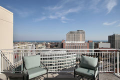 Rooftop deck with lake view royalty free stock photography