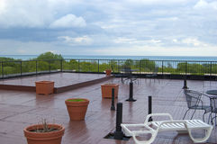 Rooftop Deck During a Summer Thunderstorm Royalty Free Stock Photography