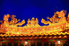 Rooftop decoration of Temple in Taiwan at Night Stock Photography