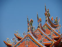 Rooftop decoration of traditional Temple in Taiwan Stock Photo