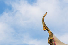 Rooftop detail of a Buddhist temple in Bangkok Royalty Free Stock Photos