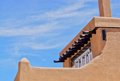 Rooftop detail of Santa Fe adobe building. Architectural detail of rooftop of a downtown Santa Fe adobe building typical of the area in the South West of America Royalty Free Stock Image