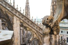 Rooftop of Duomo cathedral, Milan, Italy Royalty Free Stock Photo