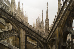Rooftop of Duomo di Milano - columns. At the rooftop of Duomo di Milano Royalty Free Stock Images