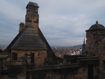 From rooftop of Edinburgh Castle, Scotland. From the rooftop of Edinburgh Castle, Scotland, we can look over Edinburgh's Old and New Towns Royalty Free Stock Photography