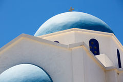 Rooftop of a gorgeous blue and white orthodox  church Royalty Free Stock Image