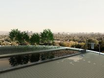 Rooftop infinity pool with cityscape view. Picture of rooftop infinity pool with cityscape view Stock Photo