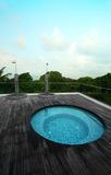Rooftop jacuzzi pool, tropical resort hotel Stock Photo