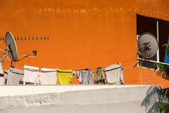 Rooftop with laundry and satellite Stock Photo