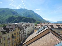 Rooftop and Mountain View of Bolzano Stock Photo