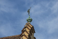 Rooftop of the old town hall of Regensburg with weather vane Stock Images