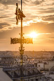The rooftop of Paris from the Galeries Lafayette Stock Photos