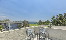 Rooftop patio in apartment complex. Outdoors in Southern California homes ready for real estate listings Stock Photo