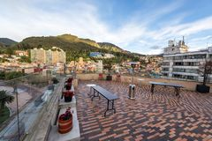 Rooftop Patio in Bogota, Colombia. Rooftop patio with a beautiful view in downtown Bogota, Colombia stock photo
