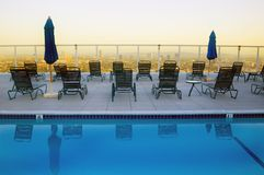 Rooftop Pool - Hollywood. Rooftop hotel pool at sunset overlooking Hollywood and Los angeles royalty free stock photos