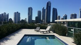 Rooftop pool skyline Stock Images