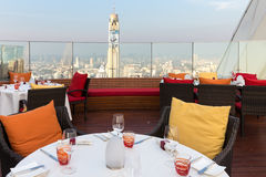 Rooftop restaurant in Bangkok Stock Images