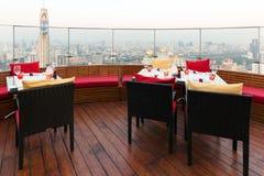 Rooftop restaurant in Bangkok Stock Photo