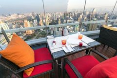 Rooftop restaurant in Thailand stock photography