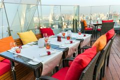 Rooftop restaurant in Thailand Royalty Free Stock Photos