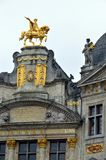 Rooftop sculptures of opulent buildings at Grand Place, Brussels City, Belgium Royalty Free Stock Image