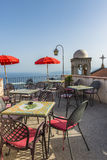 Rooftop sitting area in Castelmola, Sicily Royalty Free Stock Image