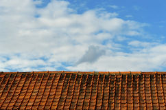Rooftop and sky. Simplistic binary concept of a rooftop with old pantiles and sky, with a high degree of repetition, perfectly horizontal for banners in a Royalty Free Stock Photos
