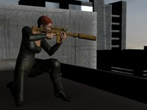 Rooftop sniper takes aim Royalty Free Stock Photography