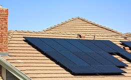 Rooftop Solar Panels Stock Images