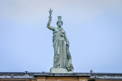 The rooftop statue Italia of Italian Center in Glasgow, Scotland Royalty Free Stock Photos