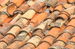 Rooftop tiles in Dubrovnik showing age and damage Royalty Free Stock Photo