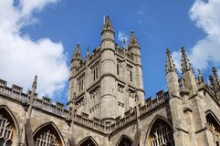 Rooftop and Tower of Bath Abbey in England Royalty Free Stock Images