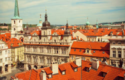 Rooftop view on beautiful city with Baroque style buildings of historical town of old Prague Royalty Free Stock Image